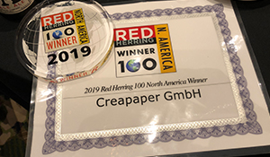 Red Herring Award North America für Creapaper - Der Pressedienst - Medienservice für Journalisten