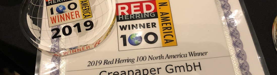 Red Herring Award North America für Creapaper | Medienservice für Journalisten